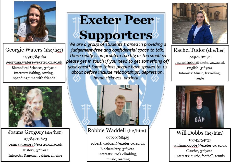 Plain text for peer support poster: Exeter Peer Supporters We are a group of students trained in providing a judgement-free and confidential space to talk. There really is no problem too big or too small so please get in touch if you need to get something off your chest! Some things people have spoken to us about before include relationships, depression, home sickness, anxiety... List of peer supporters and details Georgie Waters (she/her) 07917784060 georgina.waters@exeter.ox,ac,uk Biomedical Sciences, 3nd year Interests: Baking, rowing, spending time with friends Rachel Tudor (she/her) 07462402174 rachel.tudor@exeter.ox.ac.uk English, 3nd year Interests: Music, travelling, rugby Joanna Gregory (she/her) 07784212623 joanna.gregory@exeter.ox.ac.uk History, 3nd year Interests: Dancing, baking, singing Robbie Waddell (he/him) 07790768425 robert.waddell@exeter.ox.ac.uk Biochemistry, 3nd year Interests: Rock climbing, music, reading Will Dobbs (he/him) 07745754237 william.dobbs@exeter.ox.ac.uk Classics, 3nd year Interests: Music, football, tennis